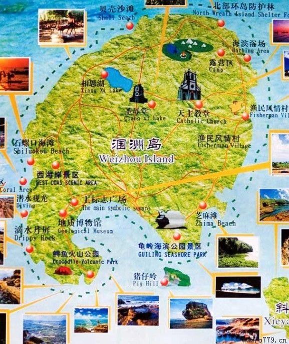 涠洲岛旅游景点分布展示地图欣赏